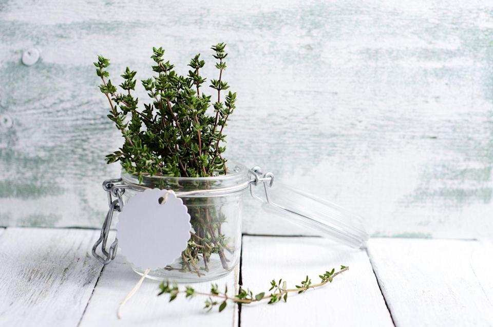"""<p>""""Thyme is considered an herbal disinfectant because of the substance thymol. To boost <strong>oral health</strong>, add 2 to 3 drops thyme essential oil to 1/2 cup distilled water and use as a mouthwash every morning before brushing your teeth. This should help fight bacteria and viruses, banish bad breath, and relieve <a href=""""https://www.prevention.com/health/a28772189/swollen-tonsils/"""" rel=""""nofollow noopener"""" target=""""_blank"""" data-ylk=""""slk:swollen tonsils"""" class=""""link rapid-noclick-resp"""">swollen tonsils</a>."""" </p><p>—<em>Caitlin Policastro, N.P., clinical director of the New York Center for Innovative Medicine</em></p>"""
