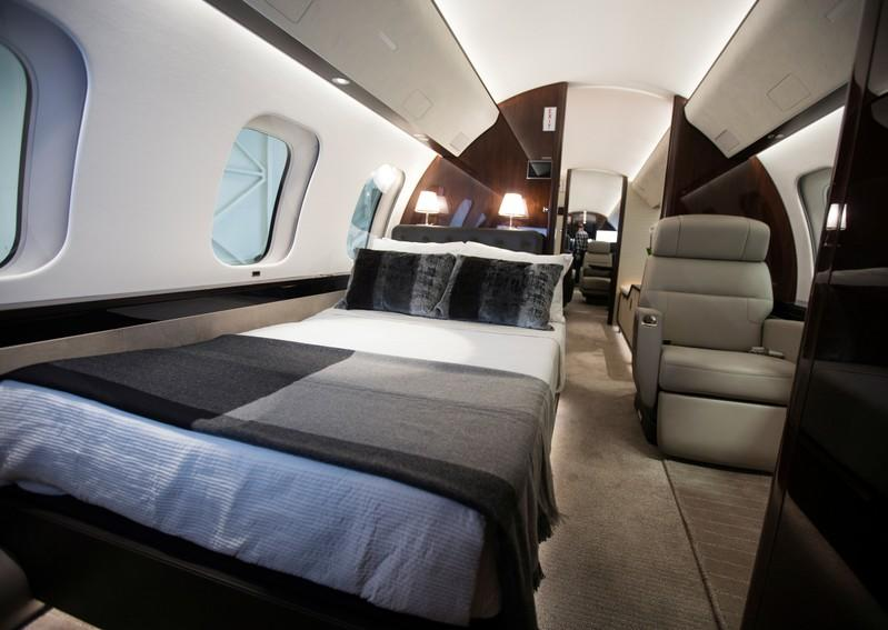 An interior view showing a bed in the cabin of Bombardier's Global 7500, the first business jet to have a queen-sized bed and hot shower, is shown during a media tour in Montreal