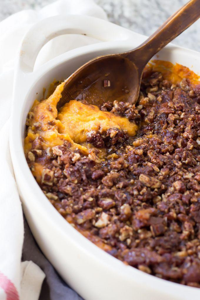 """<p>You'll never want to stop chewing this bacon-pecan topped dish.</p><p><strong>Get the recipe at <a href=""""http://wickedspatula.com/paleo-sweet-potato-casserole-with-bacon-pecan-streusel/"""" rel=""""nofollow noopener"""" target=""""_blank"""" data-ylk=""""slk:Wicked Spatula"""" class=""""link rapid-noclick-resp"""">Wicked Spatula</a>.</strong></p>"""