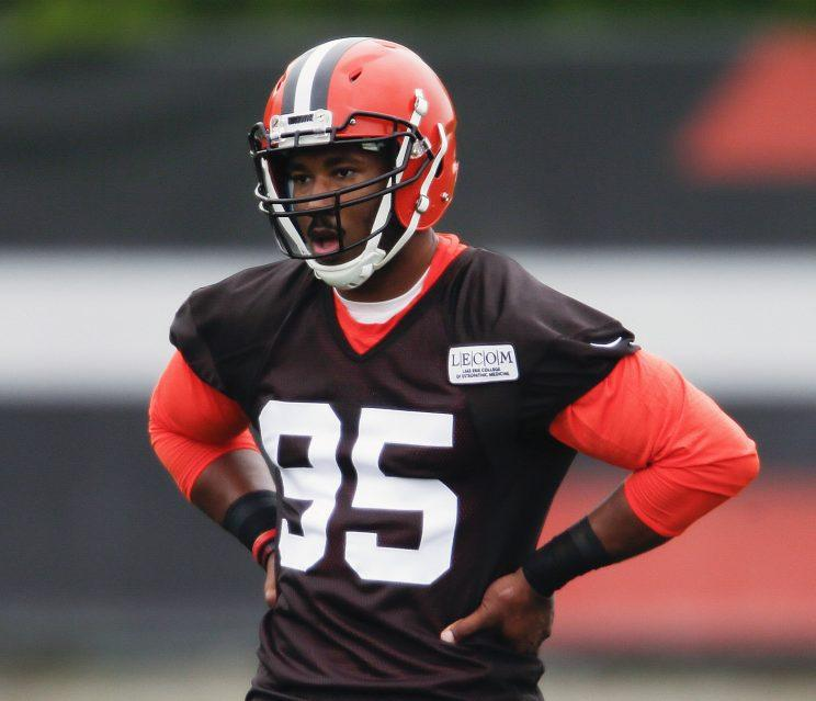 Myles Garrett was the first overall pick of this year's draft to the Browns. (AP)