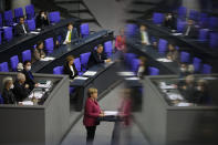 German Chancellor Angela Merkel delivers a speech about German government's policies to combat the spread of the coronavirus and COVID-19 disease at the parliament Bundestag, in Berlin, Germany, Thursday, Oct. 29, 2020. (Photo/Markus Schreiber)