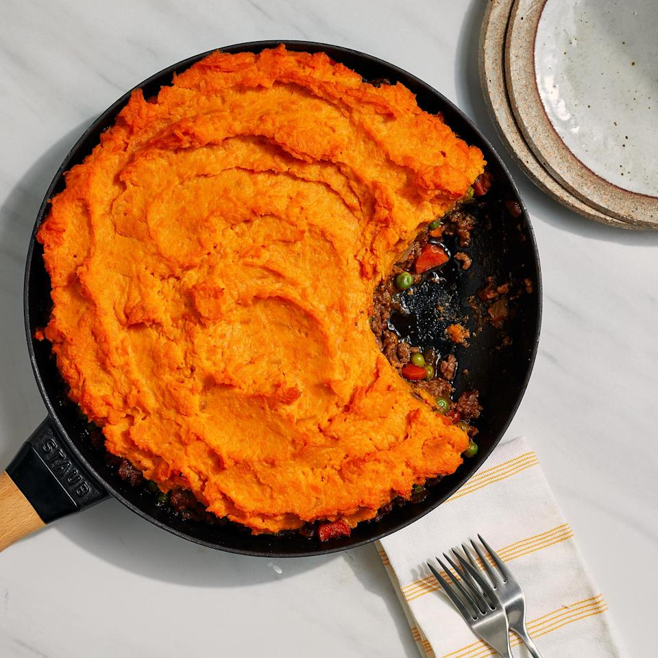 """<p>Fresh herbs, Worcestershire sauce and ground pepper carry the flavor in this quick-cooking shepherd's pie with a sweet potato topping. Ground beef adds a rich, savory flavor, but ground turkey or ground meat substitute would work well too. <a href=""""https://www.eatingwell.com/recipe/7912955/sweet-potato-shepherds-pie/"""" rel=""""nofollow noopener"""" target=""""_blank"""" data-ylk=""""slk:View Recipe"""" class=""""link rapid-noclick-resp"""">View Recipe</a></p>"""