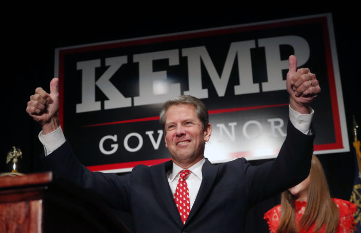 Then Georgia Republican gubernatorial candidate Brian Kemp gives a thumbs-up to supporters, in Athens, Ga. in 2018. (Photo: John Bazemore/AP)