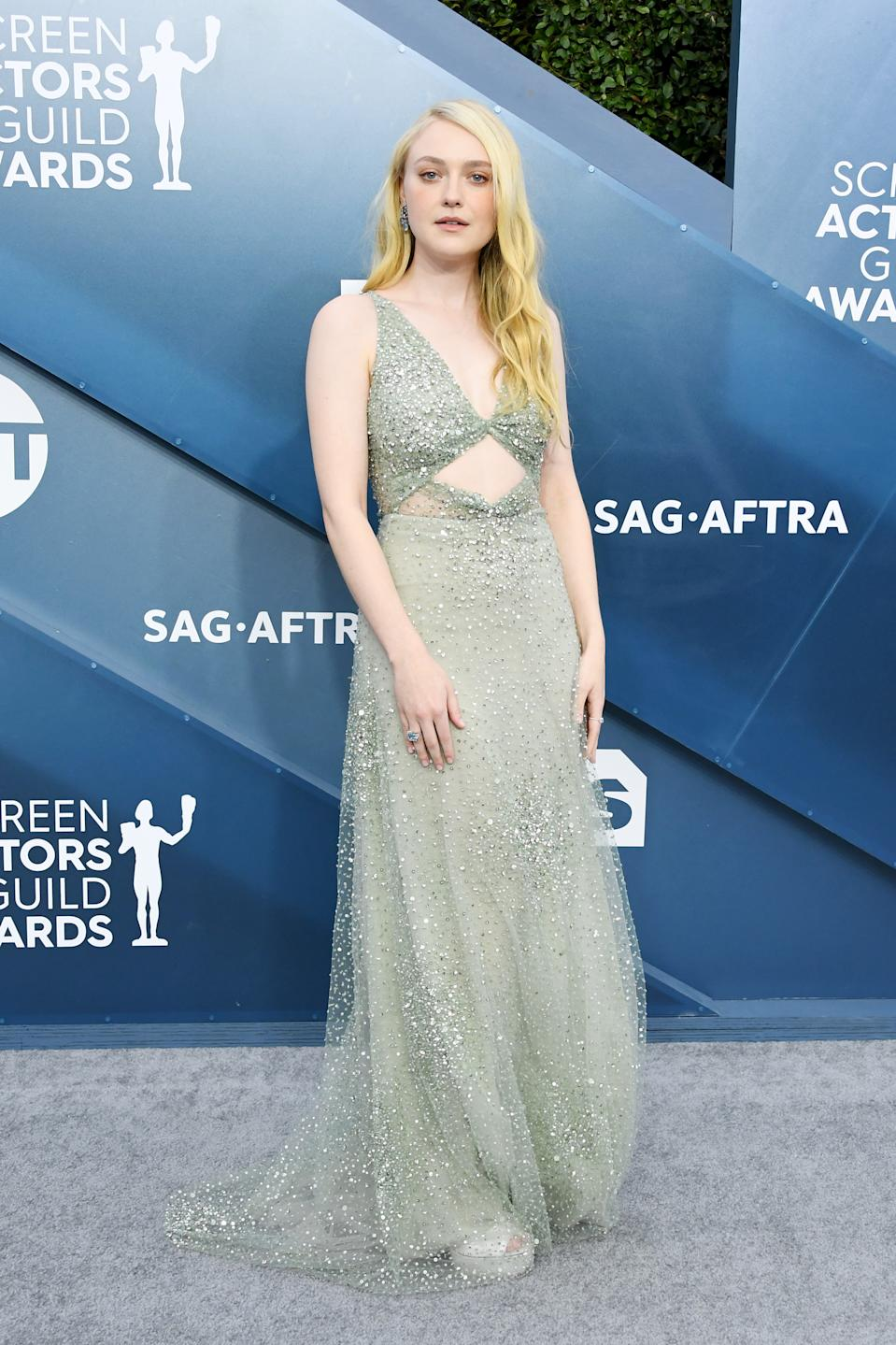 """Fanning opted for an ethereal sage Valentino gown to celebrate her nomination with the rest of the """"Once Upon a Time... In Hollywood"""" cast for Outstanding Performance by a Cast in a Motion Picture."""