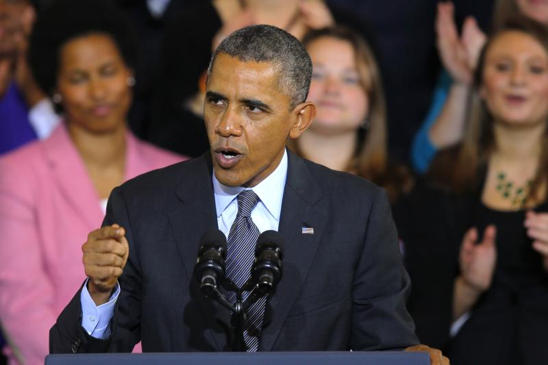 U.S. President Obama speaks about the Affordable Care Act at Faneuil Hall in Boston