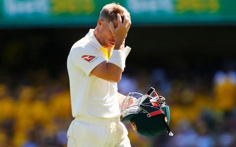 David Warner walks off after being dismissed during day two of the Ashes Test match - Credit: Jason O'Brien/PA Wire