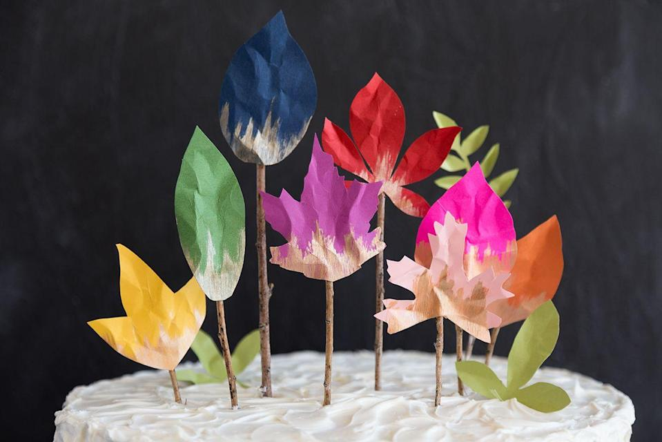 "<p>Introduce your budding baker to this simple craft, which requires minimal materials (think: paper, paint, twigs) to create some show-stopping decorations for your sweets. Then, dig in!</p><p><em><a href=""https://thehousethatlarsbuilt.com/2016/10/diy-fall-leaf-cake-topper.html/"" rel=""nofollow noopener"" target=""_blank"" data-ylk=""slk:Get the tutorial at The House That Lars Built »"" class=""link rapid-noclick-resp"">Get the tutorial at The House That Lars Built »</a> </em></p><p><strong>RELATED:</strong> <a href=""https://www.goodhousekeeping.com/life/parenting/g32627077/learning-activities-for-kids/"" rel=""nofollow noopener"" target=""_blank"" data-ylk=""slk:Fun Learning Activities for Kids to Enjoy at Home"" class=""link rapid-noclick-resp"">Fun Learning Activities for Kids to Enjoy at Home</a></p>"
