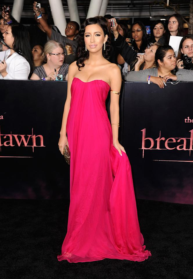 "<a href=""http://movies.yahoo.com/movie/contributor/1809732534"">Christian Serratos</a> at the Los Angeles premiere of <a href=""http://movies.yahoo.com/movie/1810158314/info"">The Twilight Saga: Breaking Dawn - Part 1</a> on November 14, 2011."