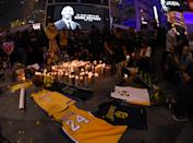 In the hours and days following Kobe Bryant's shocking death in a helicopter crash on January 26, 2020, Lakers fans flocked to the Staples Center to pay tribute to their basketball hero. (Harry How/Getty Images)