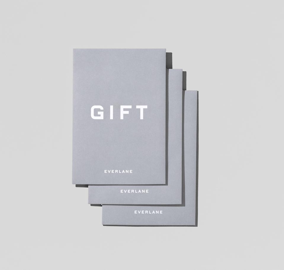 """<p><strong>everlane</strong></p><p>everlane.com</p><p><a href=""""https://go.redirectingat.com?id=74968X1596630&url=https%3A%2F%2Fwww.everlane.com%2Fproducts%2Fgiftcards-100&sref=https%3A%2F%2Fwww.countryliving.com%2Fshopping%2Fgifts%2Fg25632110%2Fgift-card-ideas%2F"""" rel=""""nofollow noopener"""" target=""""_blank"""" data-ylk=""""slk:Shop Now"""" class=""""link rapid-noclick-resp"""">Shop Now</a></p><p>Everlane makes timeless clothing ethically. Shop their stylish duffel bags, cashmere sweaters, and more with this gift card.</p>"""