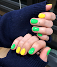 Alternate shades of neon for a mani that can't be missed.