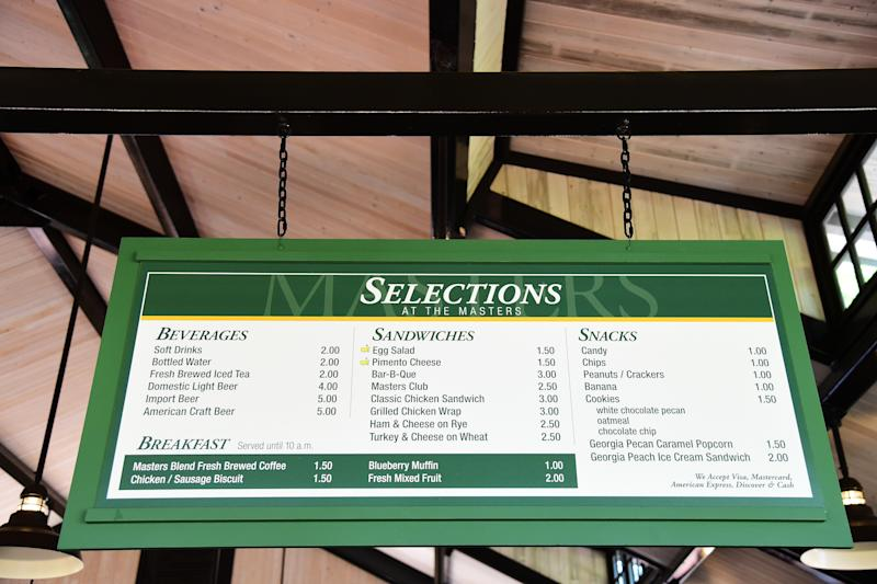 Masters concession prices in 2016. More