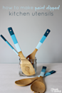 """<p>Add some color to mom's kitchen tools with this easy tutorial. </p><p><em><strong>Get the tutorial from <a href=""""https://www.cleverlysimple.com/diy-gift-idea-paint-dipped-kitchen-utensils/"""" rel=""""nofollow noopener"""" target=""""_blank"""" data-ylk=""""slk:Cleverly Simple"""" class=""""link rapid-noclick-resp"""">Cleverly Simple</a>. </strong></em></p><p><strong><a class=""""link rapid-noclick-resp"""" href=""""https://www.amazon.com/gp/slredirect/picassoRedirect.html/ref=pa_sp_atf_aps_sr_pg1_1?ie=UTF8&adId=A023572813RKWZD4SSH7P&url=%2FZhuoyue-Kitchen-Utensils-Nonstick-Cookware%2Fdp%2FB07RK6T93J%2Fref%3Dsr_1_2_sspa%3Fcrid%3D1YNM6GKPK079%26dchild%3D1%26keywords%3Dbamboo%2Bwooden%2Butensils%26qid%3D1605822614%26sprefix%3DBAMBOO%2BWOODEN%2BU%252Caps%252C213%26sr%3D8-2-spons%26psc%3D1&qualifier=1605822614&id=1735374886255085&widgetName=sp_atf&tag=syn-yahoo-20&ascsubtag=%5Bartid%7C10063.g.34832092%5Bsrc%7Cyahoo-us"""" rel=""""nofollow noopener"""" target=""""_blank"""" data-ylk=""""slk:SHOP WOODEN UTENSILS"""">SHOP WOODEN UTENSILS</a> </strong></p>"""