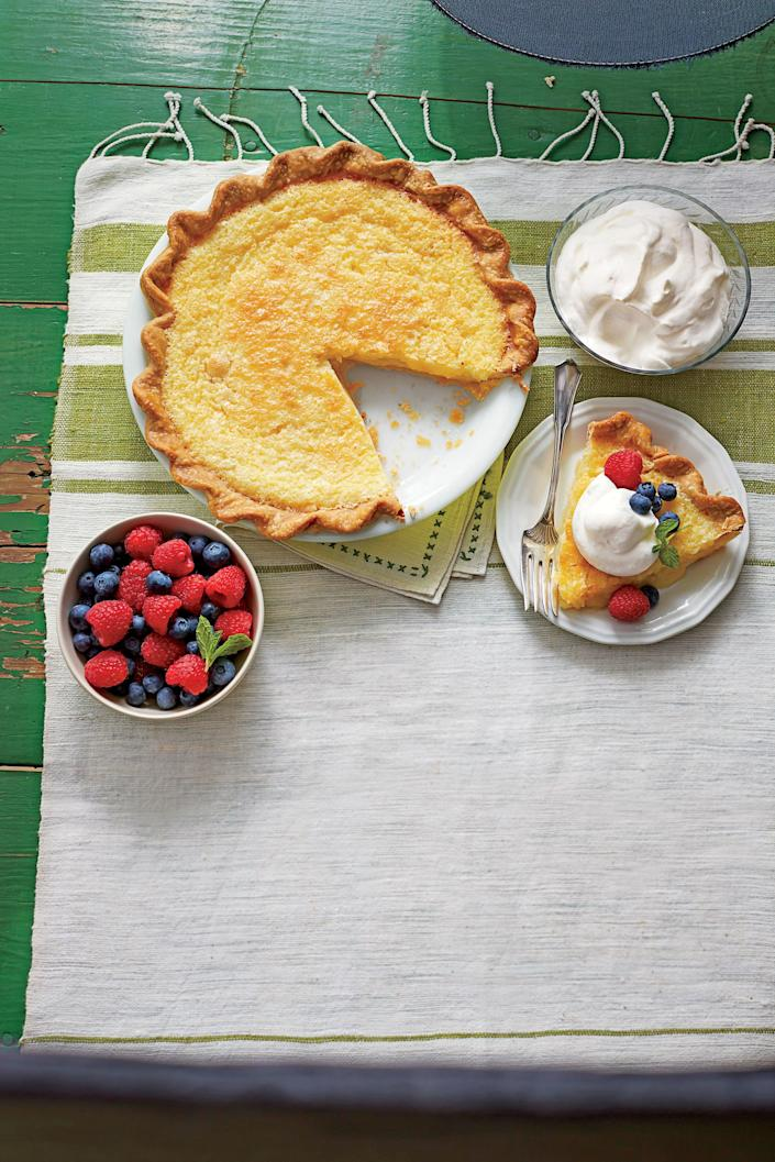 "<p><strong>Recipe: <a href=""https://www.southernliving.com/recipes/classic-southern-buttermilk-pie"" rel=""nofollow noopener"" target=""_blank"" data-ylk=""slk:Classic Southern Buttermilk Pie"" class=""link rapid-noclick-resp"">Classic Southern Buttermilk Pie</a></strong></p> <p>When your guests see this Classic Buttermilk Pie, they'll all want to skip straight to dessert.</p>"