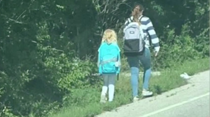 An older student helped a nervous 6-year-old walk home on first day of school. (Photo: Stephanie Rogers/WHNT)