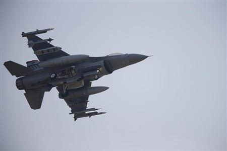 A F-16 fighter jet belonging to the U.S. Air Force comes in for a landing at a U.S. air force base in Osan