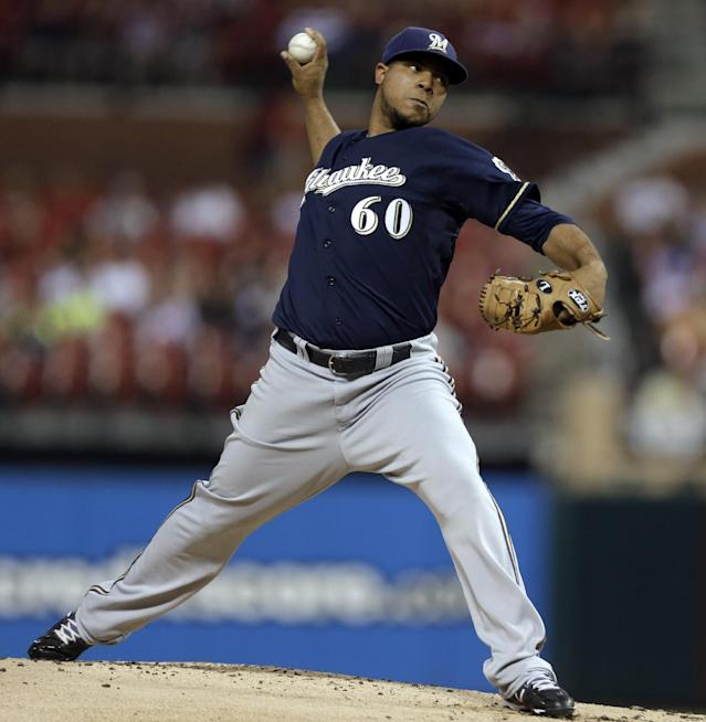 Milwaukee Brewers starting pitcher Wily Peralta throws during the first inning of a baseball game against the St. Louis Cardinals on Tuesday, Sept. 10, 2013, in St. Louis. (AP Photo/Jeff Roberson)