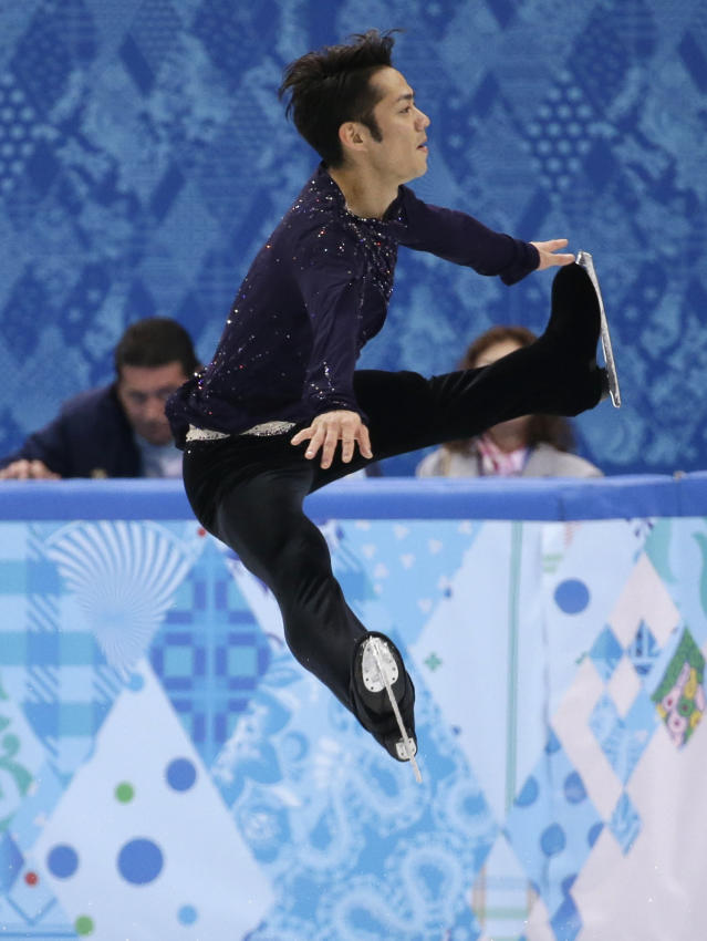 Daisuke Takahashi of Japan competes in the men's free skate figure skating final at the Iceberg Skating Palace during the 2014 Winter Olympics, Friday, Feb. 14, 2014, in Sochi, Russia