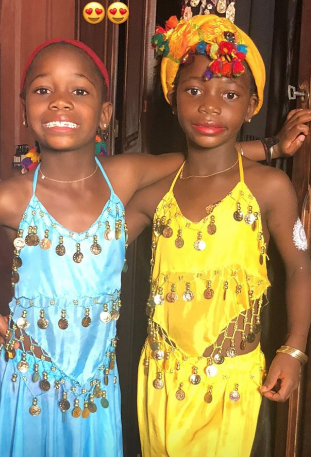 Madonna and twin daughters Estere and Stella are celebrating her birthday in Morocco. (Photo: Madonna via Instagram Stories)