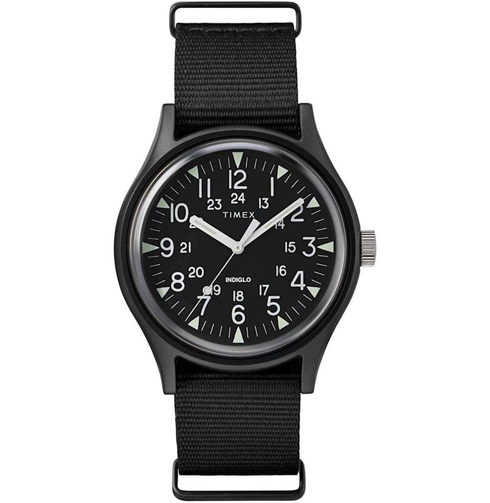 """<p><strong>Timex</strong></p><p>amazon.com</p><p><strong>$56.31</strong></p><p><a href=""""https://www.amazon.com/dp/B079KW38RC?tag=syn-yahoo-20&ascsubtag=%5Bartid%7C10054.g.36186166%5Bsrc%7Cyahoo-us"""" rel=""""nofollow noopener"""" target=""""_blank"""" data-ylk=""""slk:Buy"""" class=""""link rapid-noclick-resp"""">Buy</a></p><p>This rugged, water-resistant Timex was built for the man on the constant move—the one who doesn't want to be worrying about keeping his accessories safe from dings and scratches day in and day out. </p>"""