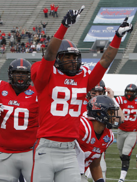 Mississippi wide receiver Ja-Mes Logan (85) reacts after scoring in the first half against Pittsburgh in the BBVA Compass Bowl NCAA college football game at Legion Field in Birmingham, Saturday, Jan. 5, 2013. (AP Photo/Butch Dill)