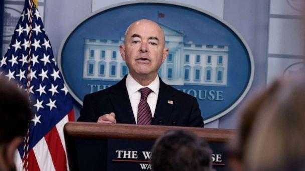 PHOTO: U.S. Homeland Security Secretary Alejandro Mayorkas speaks at a press briefing at the White House on Sept. 24, 2021, in Washington. (Anna Moneymaker/Getty Images)
