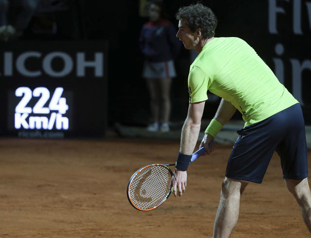 Britain's Andy Murray is about to serve the ball to Spain's Rafael Nadal during their match at the Italian open tennis tournament in Rome, Friday, May 16, 2014. (AP Photo/Gregorio Borgia)