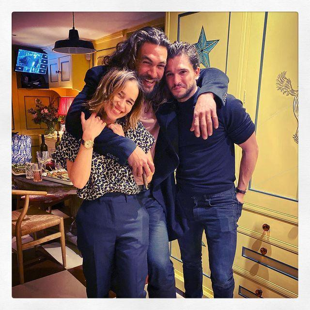 """<p>Momoa and Harington joined Clarke to celebrate her 33rd birthday recently, with Clarke acknowledging that 'reunions never looked this hairy'.</p><p>Momoa and Clarke, in particular, have stayed close since the Aquaman star left the show, evident by the comment he left on Clarke's post, saying he was 'so stoked' they got to reunite.</p><p><a href=""""https://www.instagram.com/p/B4FE20flIh9/"""" rel=""""nofollow noopener"""" target=""""_blank"""" data-ylk=""""slk:See the original post on Instagram"""" class=""""link rapid-noclick-resp"""">See the original post on Instagram</a></p>"""