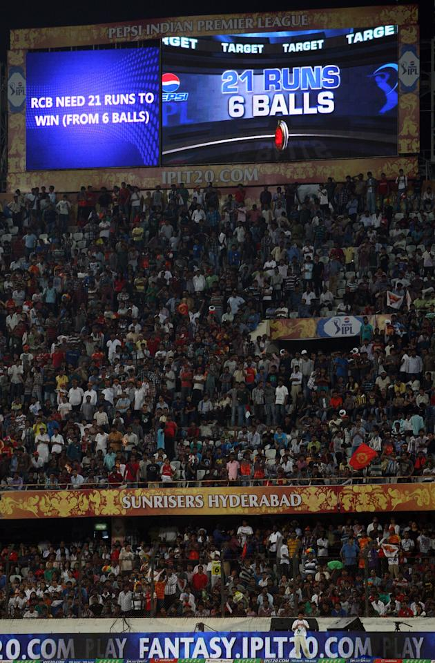 Big screen displays the target set by Sunrisers Hyderabad during match 7 of the Pepsi Indian Premier League between The Sunrisers Hyderabad and Royal Challengers Bangalore held at the Rajiv Gandhi International Stadium, Hyderabad on the 7th April 2013. Photo by Jacques Rossouw - SPORTZPICS - IPL  ..Use of this image is subject to the terms and conditions as outlined by the BCCI. These terms can be found by following this link:..https://ec.yimg.com/ec?url=http%3a%2f%2fwww.sportzpics.co.za%2fimage%2fI0000SoRagM2cIEc&t=1498177716&sig=KEd.1Ee47cMk3jElpbFLdA--~C