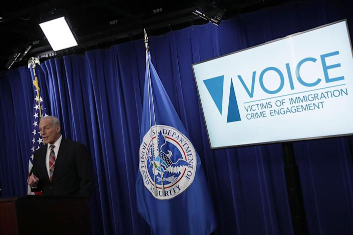 """Homeland Security Secretary John Kelly announces the opening of the new Victims of Immigration Crime Engagement (VOICE) office on Apirl 26, 2017. (Alex Wong—Getty Images)<span class=""""copyright"""">Alex Wong—Getty Images)</span>"""