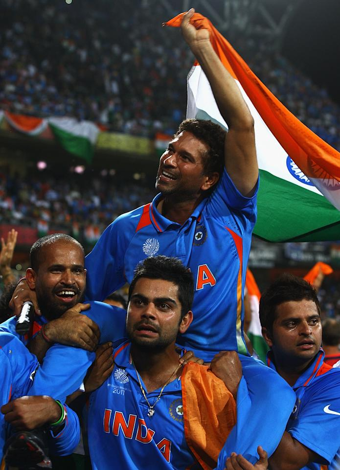 """Sachin Tendulkar, who finally had a World Cup trophy to put the icing on his amazing international career said, """"I couldn't have asked for anything more than this. Winning the World Cup is the proudest moment of my life. Thanks to my team-mates. Without them, nothing would have happened. I couldn't control my tears of joy.""""  Tendulkar was carried around the Wankhede Stadium by his team mates, and Virat Kohli, one of the youngsters in the squad said: """"This goes out to all the people of India. This is my first World Cup; I can't ask for more. Tendulkar has carried the burden of nation for 21 years; It was time we carried him. Chak de India!"""""""