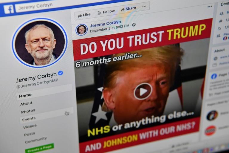 A photo illustration shows the Facebook page of Britain's opposition Labour Party Leader Jeremy Corbyn