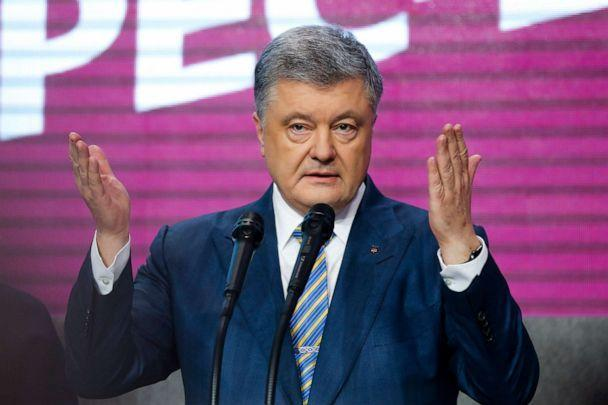 PHOTO: Ukrainian President Petro Poroshenko gestures while speaking at his headquarters after the second round of presidential elections in Kiev, Ukraine, April 21, 2019. (Efrem Lukatsky/AP)