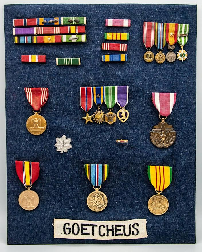 Jim Goetcheus' collection of medals that he earned while serving 20 years in the Army, including a Bronze Star and a Purple Heart.