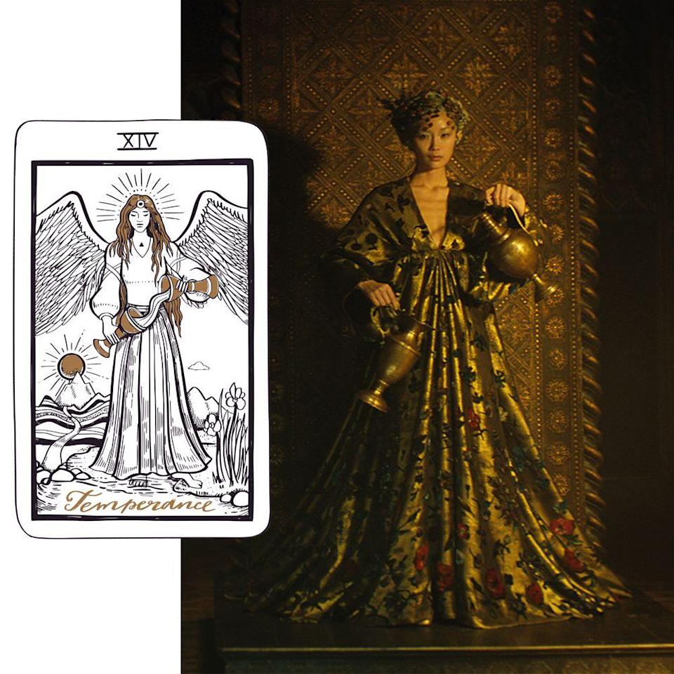 <p>The horizontal door opens to reveal Temperance. Temperance represents higher learning, moderation, emotional control, and philosophy. This card aligns with Sagittarius and is male, female, or neither — just like Sagittarius is either man, horse, or both. This card represents alchemy and the integration of the Holy Spirit, the mind, and the body, hence the triangle on the heart of this character in the deck. The two jugs in her hands represent the super and the subconscious minds; the water flows between them, suggesting union, fluidity, and infinity, while releasing duality.</p><p>This card represents the balance of extremes and harmony in contrast, like the feminine and masculine. This is particularly apropos given that the more conventionally feminine and masculine sides of our protagonist seem to currently be on different journeys in Dior's film, and are about to converge again.</p><p>Note the boats and distant lands in the background of this card; this symbolises voyages, but not without testing the waters before jumping into the deep end. It's a spiritual card, signifying enlightenment. The journey it encourages the lead character in Dior's film to take guides her one step closer on her tour through the tarot deck, and through Chiuri's suite of couture looks.</p>