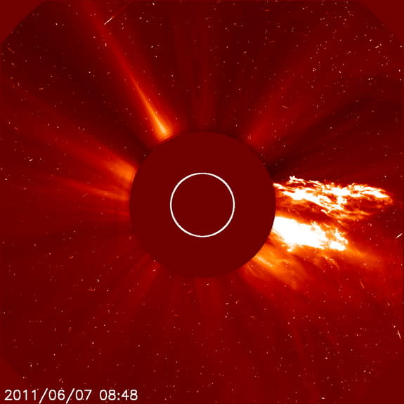 The sun on June 7, 2011, starting at about 06:41 UT, unleashed one of the most spectacular prominence eruptions ever observed.