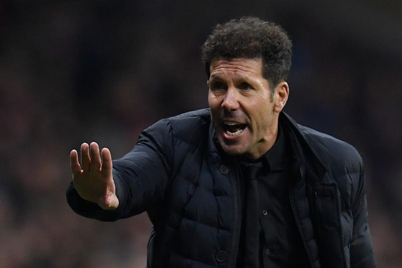 Atletico Madrid's Argentinian coach Diego Simeone gestures on the sideline during the Spanish league football match between Club Atletico de Madrid and Granada FC at the Wanda Metropolitano stadium in Madrid on February 8, 2020. (Photo by OSCAR DEL POZO / AFP) (Photo by OSCAR DEL POZO/AFP via Getty Images)