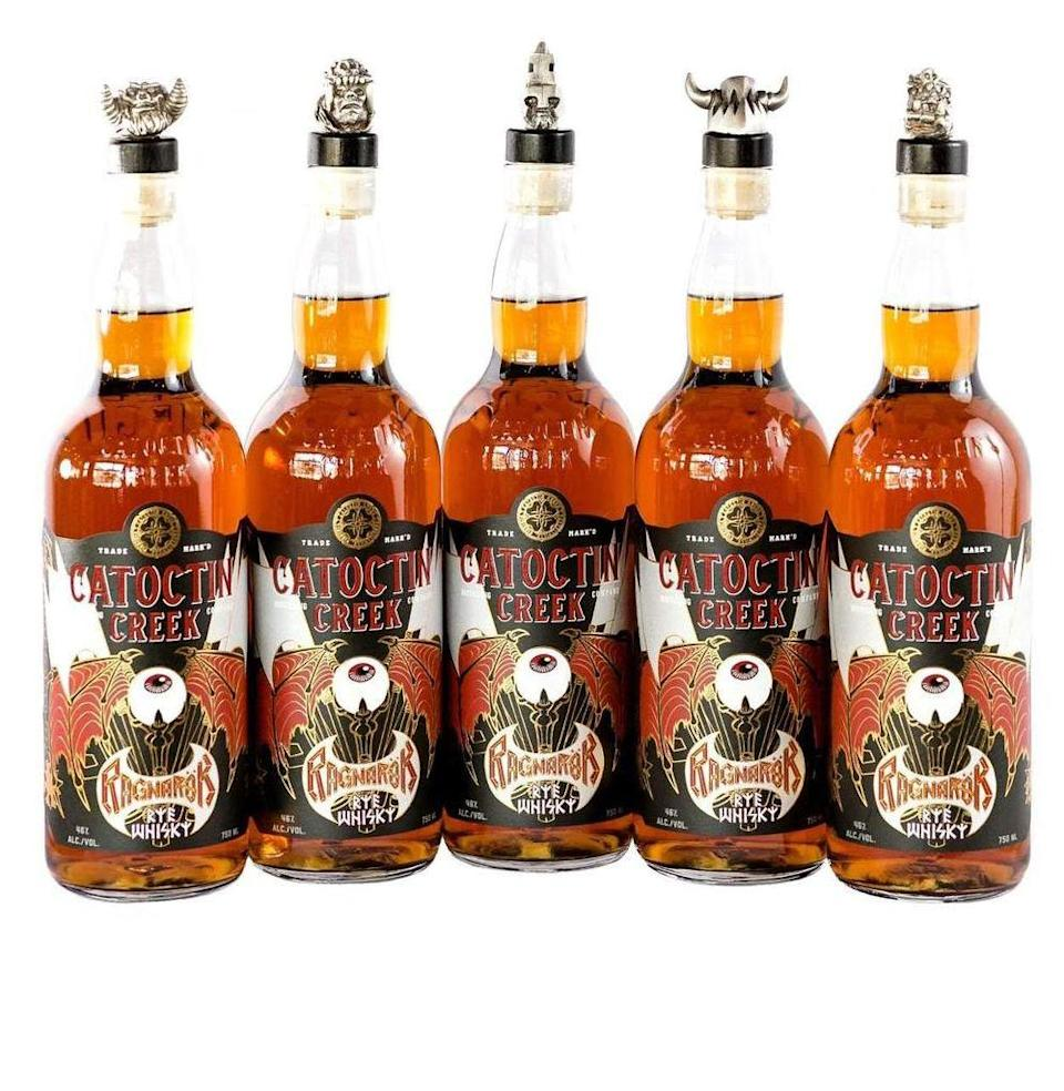 """<p><a class=""""link rapid-noclick-resp"""" href=""""https://catoctincreekdistilling.com/ragnarok"""" rel=""""nofollow noopener"""" target=""""_blank"""" data-ylk=""""slk:Check Availability"""">Check Availability</a> <em>catoctincreekdistilling.com</em></p><p>In one of the only celebrity spirits releases that ever truly surprised me, this summer the famed shock rockers teamed up with this well-regarded Virginia craft distillery for a limited run rye. Bottles were topped with cast-metal corks featuring each of the five members of GWAR, and they sold out quickly.<br> <strong><br><em>Taste: </em></strong>6<strong><br><em>Star power: </em></strong>3<strong><br></strong><em><strong>Shamelessness:</strong> </em>1<br> </p>"""
