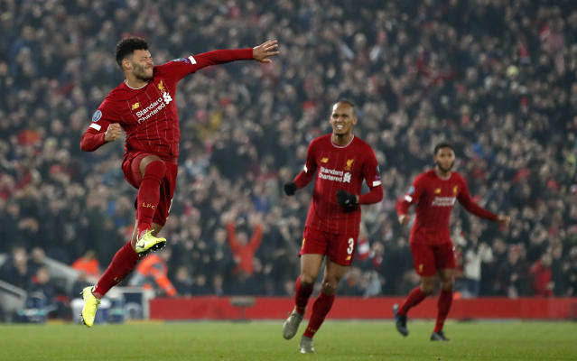Liverpool's Alex Oxlade-Chamberlain celebrates scoring against Genk . (Credit: Getty Images)