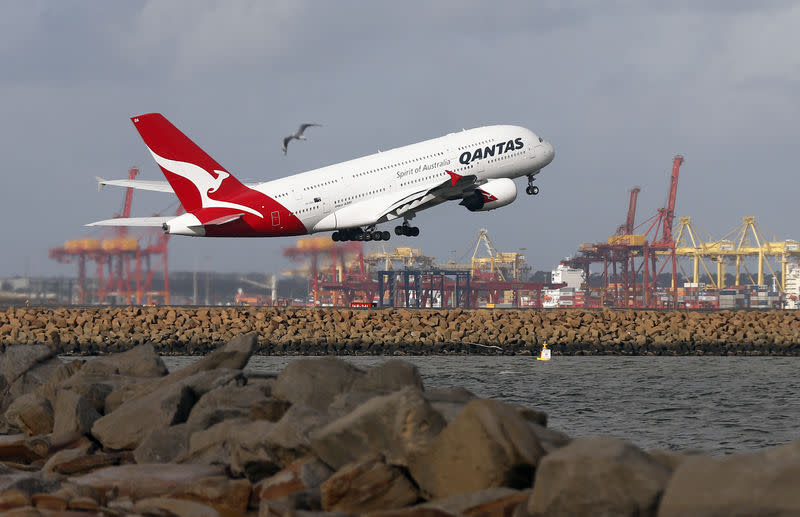 FILE PHOTO - A Qantas plane A380 takes off from Kingsford Smith International airport in Sydney