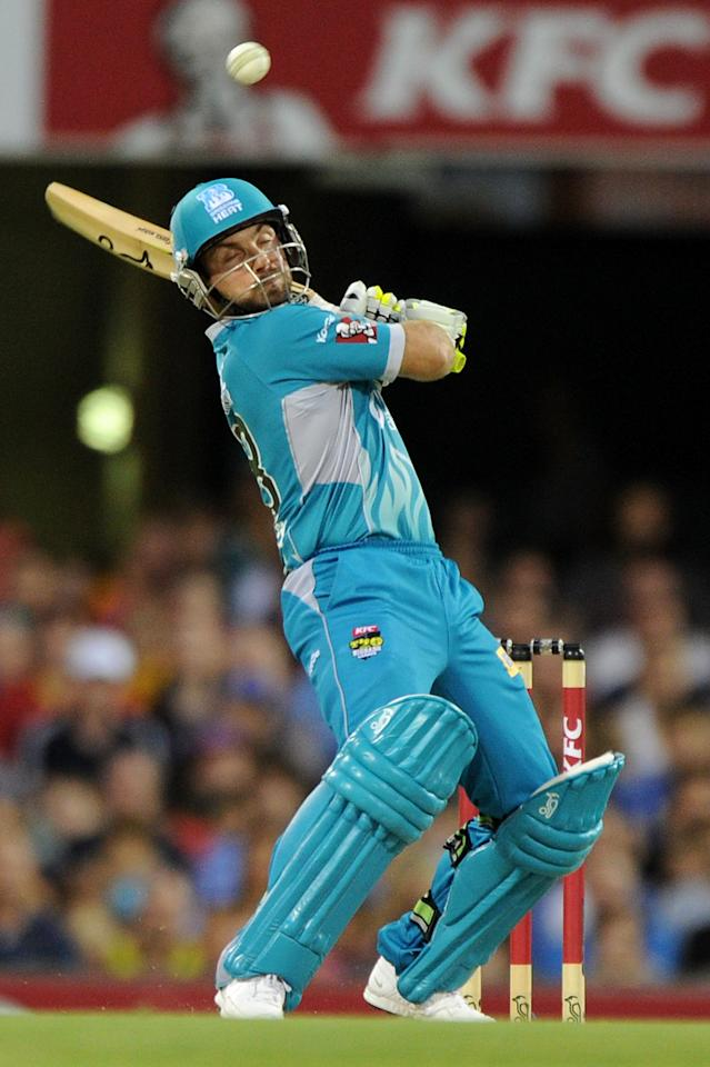 BRISBANE, AUSTRALIA - JANUARY 03:  Chris Hartley of the Heat bats during the Big Bash League match between the Brisbane Heat and the Melbourne Stars at The Gabba on January 3, 2013 in Brisbane, Australia.  (Photo by Matt Roberts/Getty Images)
