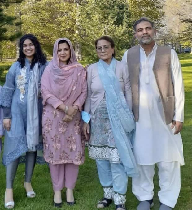 Yumna Afzaal, 15, left, Madiha Salman, 44, centre left, Talat Afzaal, 74, and Salman Afzaal, 46, right, were out for an evening walk when they were run over by a man who police say was motivated by anti-Muslim hate.    (Submitted by Afzaal family - image credit)