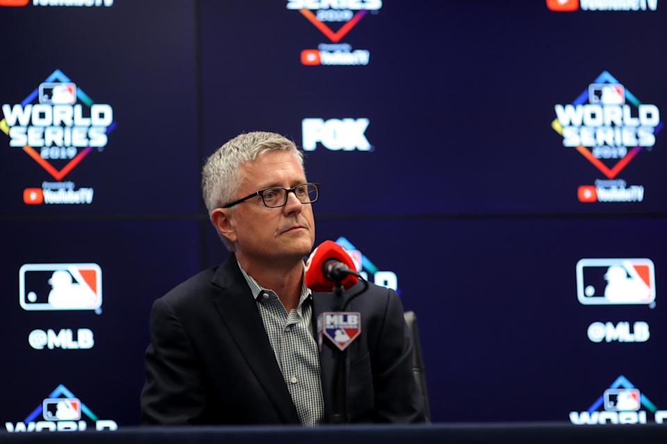 WASHINGTON, DC - OCTOBER 24:  President of Baseball Operations and General Manager Jeff Luhnow of the Houston Astros talks to the media during the press conference during the World Series Workout Day at Nationals Park on Thursday, October 24, 2019 in Washington, District of Columbia. (Photo by Alex Trautwig/MLB Photos via Getty Images)