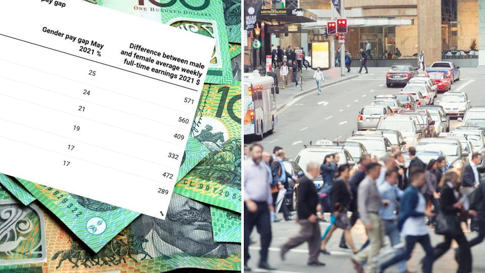 Chart showing pay gap across sectors, Australian $100 notes, pedestrians crossing the road in Sydney.