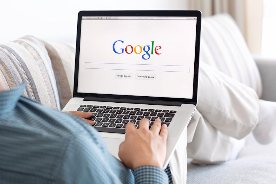 Simferopol, Russia - July 9, 2014: Google biggest Internet search engine. Google.com domain was registered September 15, 1997.