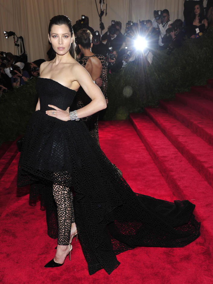 """Jessica Biel attends The Metropolitan Museum of Art's Costume Institute benefit celebrating """"PUNK: Chaos to Couture"""" on Monday May 6, 2013 in New York. (Photo by Charles Sykes/Invision/AP)"""