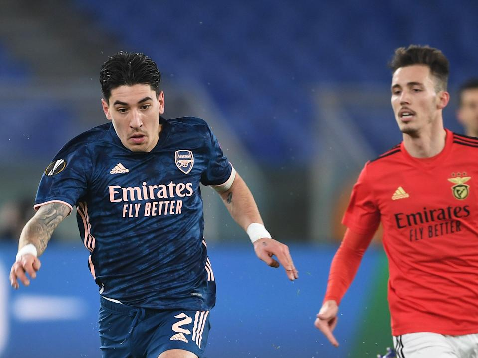 Hector Bellerin in action for Arsenal in the first leg (Arsenal FC via Getty Images)
