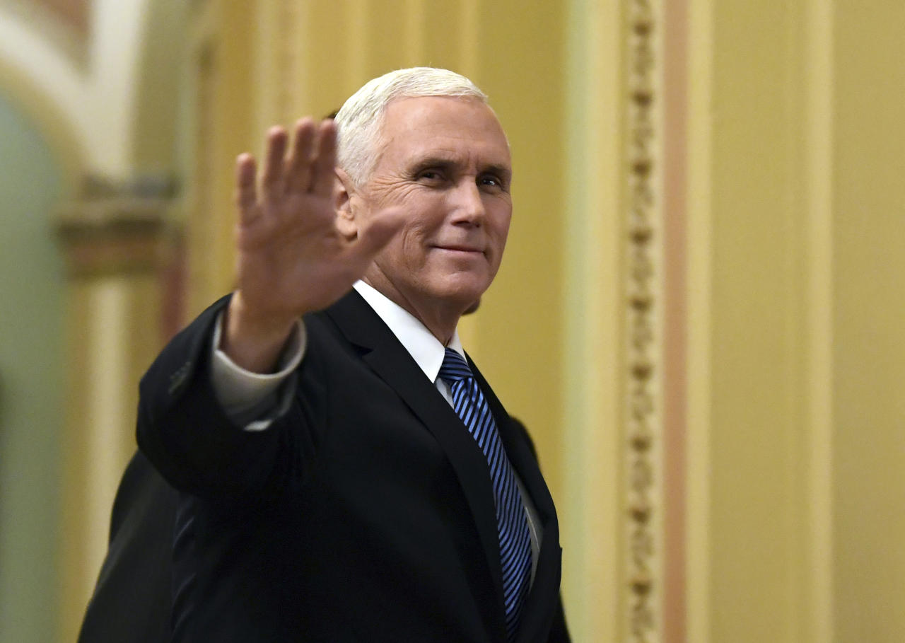 """<p> FILE - In this Jan. 3, 2018, file photo, Vice President Mike Pence waves as he walks on Capitol Hill in Washington. Pence is making his fifth visit to Israel, returning to a region he's visited """"a million times"""" in his heart. An evangelical Christian with strong ties to the Holy Land, Pence this time comes packing two key policy decisions in his bags that have long been top priorities for him: designating Jerusalem as Israel's capital and curtailing aid for Palestinians.(AP Photo/Susan Walsh, File) </p>"""