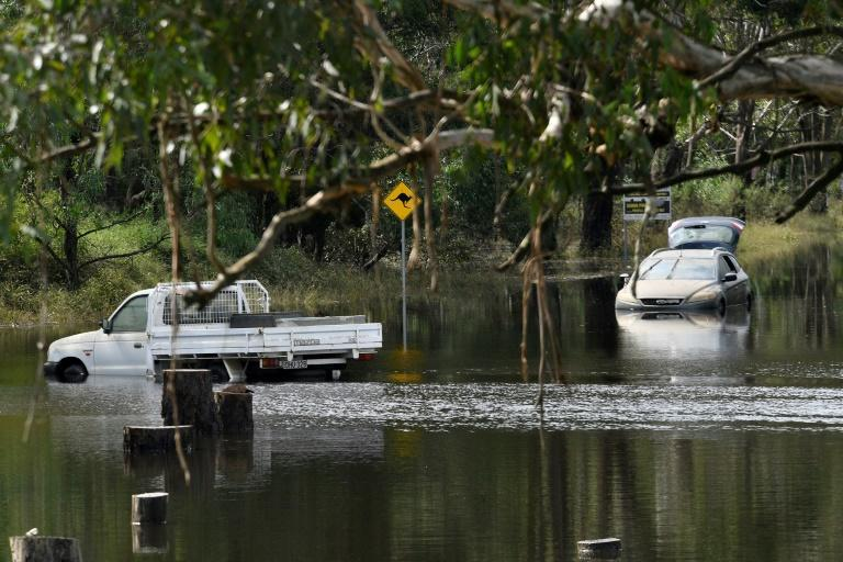 Cars sit in floodwaters in Londonderry, a suburb outside Sydney