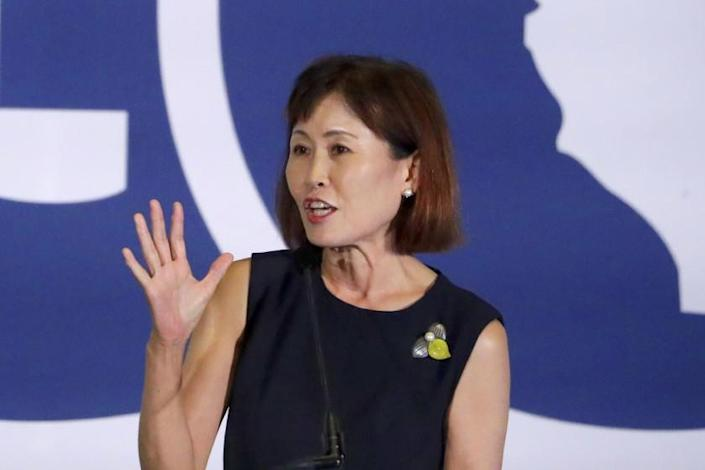FILE - In this Sept. 7, 2019, file photo, Michelle Steel, Republican candidate for California's 48th Congressional District, speaks during the California GOP fall convention in Indian Wells, Calif. Steel defeated first-term Rep. Harley Rouda on Tuesday, Nov. 10, 2020, in a Southern California district, only the second time in more than two decades that a GOP candidate in the state has defeated an incumbent Democrat. (AP Photo/Chris Carlson, File)